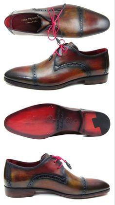 Paul Parkman Men's Multicolored Cap Toe Derby Shoes (ID#1247-MLT) Mens Derby Shoes, Bordeaux, Oxford Shoes, Dress Shoes, Lace Up, Cap, Mens Fashion, Brown, Leather