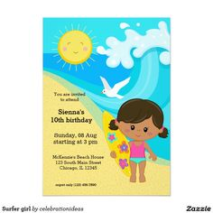#zazzle Sold this #surfer #girl #beach #summer #invitations to FL.  Thanks for you who purchased this. Check more at  www.zazzle.com/celebrationideas/surfing