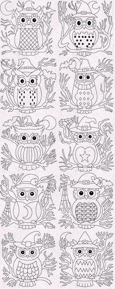 Halloween Owl Redwork Blocks 10 DesignsAll Fit the Hoop embroidery designs Halloween Applique, Halloween Embroidery, Halloween Owl, Halloween Quilts, Owl Embroidery, Cross Stitch Embroidery, Machine Embroidery Designs, Owl Templates, Quilting Templates