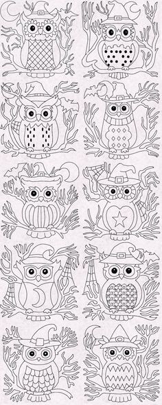 {Downloaded Under- halloweenowlblocksrw_008 K.H.} Number 8 Halloween Owl Redwork Blocks Embroidery Machine Design Details