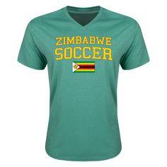 Zimbabwe Soccer V-Neck T-Shirt
