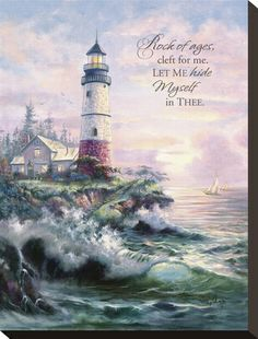 """""""Lighthouse Cove"""" (painting by Carl Valente) Art Thomas, Lighthouse Painting, Lighthouse Pictures, Thomas Kinkade, Landscape Paintings, Oil Paintings, Beautiful Pictures, Scenery, Fine Art Prints"""