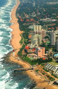 Coastline of Umhlanga, South Africa. Umhlanga is a residential, commercial and resort town north of Durban on the coast of KwaZulu-Natal, South Africa. Places To Travel, Places To See, Places Around The World, Around The Worlds, Magic Places, Namibia, Le Cap, Out Of Africa, Thinking Day