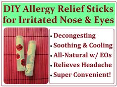 Sinusitis Remedies * Maria's Self *: DIY Sinus Allergy Relief Sticks Recipe. How to Make a Natural Balm Tube for Congested and Irritated Noses (and Eyes Too!) - homemade on-the-go treatment with essential oils. Young Living Oils, Young Living Essential Oils, Doterra, Sinus Allergies, Asthma Relief, Allergy Remedies, Sinus Remedies, How To Relieve Headaches, Allergy Relief