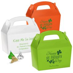 Personalized gable-shaped favor boxes. Free online preview. Choice of 12 box colors, 40+ imprint colors and typestyles. Heavy cardstock with a glossy finish.