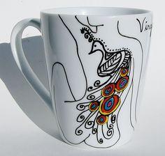 Zodiac Mug Virgo Mug  Mug / Peacock Design Coffee MMMug / Tea Cup