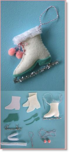 """Elizabeth Andrus of """"Creative Breathing"""" has several different felt ornaments with patterns for us to make. My favorite is the ice skate :) She has several other ornaments for us; che…"""