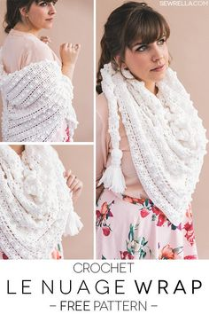 Crochet the easy bobble stitch and lace le nuage triangle wrap scarf with chubby tassels! A free pattern and video tutorial on the blog