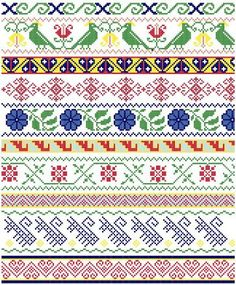 Mexican Folk Borders Cross Stitch Pattern por blackphoebedesigns