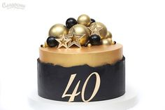 Торт на 40 лет. Изготовление тортов на заказ Киев. Elegant Birthday Cakes, 60th Birthday Cakes, Birthday Cakes For Teens, 40th Birthday Parties, Elegant Cakes, Man Birthday, Black And Gold Cake, Cake Decorating Piping, Cakes For Men