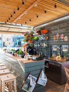 Bar Base Option 1 { add lip~ sage green or off white} Libanesisches Restaurant, Beach Restaurant Design, Restaurant Concept, Cafe Design, Store Design, Pool Bar, Decoration Surf, Coffee Shop, Juice Bar Design