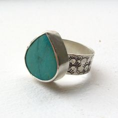 Turquoise Tear Drop Shaped Sterling Silver Cocktail by lauramartin, $139.00
