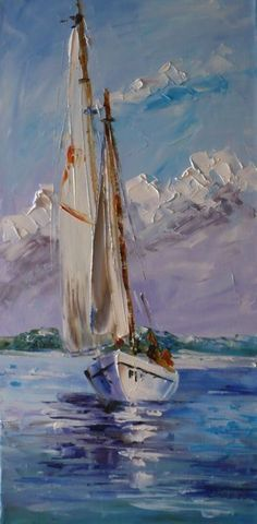 a painting of a sailboat. I love sailing with my family and painting a sailboat . - a painting of a sailboat. I love sailing with my family and painting a sailboat is something I'd - Sailboat Painting, Sailboat Art, Painting Abstract, Painting Canvas, Painting Techniques, Art Oil, Art Images, Landscape Paintings, Oil Paintings
