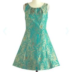 ModCloth Sunny Girl Aviary Engagement Brocade Blue Gold Peacock Party Dress XL #SunnyGirl #ALine #Cocktail