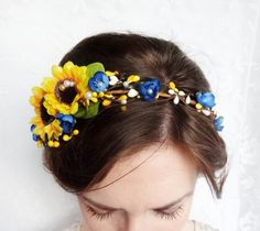 sunflower floral circlet yellow flower wreath hair by thehoneycomb, $95.00