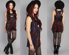 Vtg 90s Geometric Abstract Tribal Suspender Grunge by theindustry, $111.00