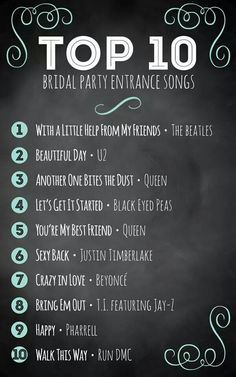 Top 10 Bridal Party Entrance Songs