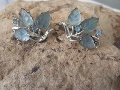 Vintage Coro frosted blue leaf blue rhinestone earrings clip-on