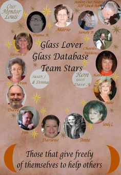 Glass Lovers Glass Database's Team Stars .  Join us for your glassware identification needs.