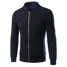 Zip Up Rhombus Pattern Insert Jacket