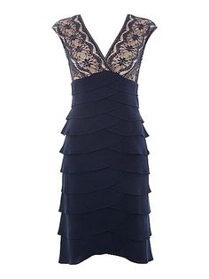 Eliza J Tiered Jersey Dress With Embroidered Bodice £130
