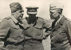 1942- Air Vice Marshal Harry Broadhurst, Brig. General Francis de Guingand and General Dwight Eisenhower confer during the North African campaign.
