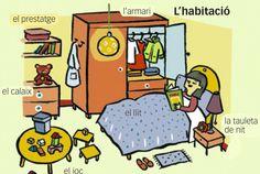 """#Fitxa #Imprimible del #vocabulari de la #casa """"L'habitació"""" en #català #flashcards #EduacióPrimaria"""