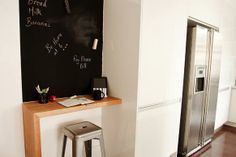 Workspace nook in the kitchen   Love the chalkboard