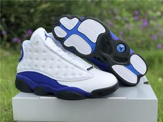 Do you want to own this Air Jordan 13 Hyper Royal?It features a white full-grain leather upper with Hyper Royal suede that wraps around the midsole and heel, and a black rubber outsole. Jordan 13, Jordan Shoes, New Jordans Shoes, Air Jordan Sneakers, Newest Jordans, Nike Air Jordans, Jordans For Men, Nike Sneakers, Jordan Outfits