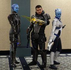 Asari Commando, MaleShep, and Liara Cosplay