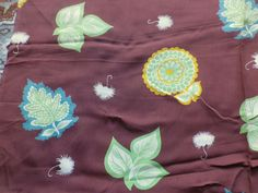 Vintage 1930's 40's Rayon Crepe Dress Fabric Retro Leaf Design on Brown in Collectables, Sewing/ Fabric/ Textiles, Fabric/ Textiles   eBay