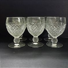 Vintage Diamond Cut Goblets Set Six of Heavy Pressed Glassware