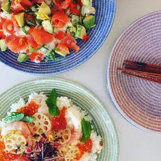 北欧食器×和食でも、相性は抜群☺︎‼︎ それぞれのお皿のカラーに合わせた具材で、お料理を楽しもう🍽  #arabia #24avec #北欧テイスト #北欧食器 #北欧 #おもてなし