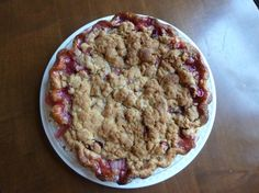 Rhubarb pie with ginger crumble topping.
