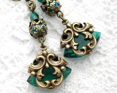 Hey, I found this really awesome Etsy listing at https://www.etsy.com/au/listing/250318303/emerald-glass-jewel-dangle-earrings
