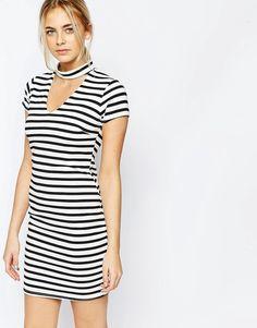 Super lækre Boohoo Stripe Cut Out Bodycon Dress - White Boohoo Bodycon Kjoler til Damer til hverdag og fest