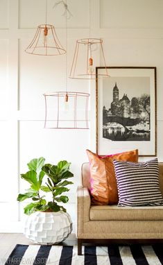 Upcycled Copper Wire Pendant Lights (from ugly thrift store lampshades!)