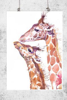 Two Giraffes ,  watercolor,  wall decor,  animal art, wildlife, art print, nursery dec by ValrArt on Etsy https://www.etsy.com/listing/221361210/two-giraffes-watercolor-wall-decor