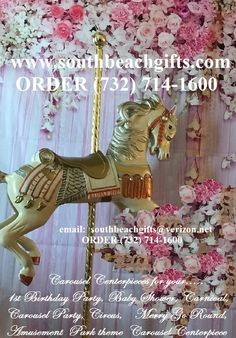 Gold Antique Vintage carousel horse decoration for Baby shower First BirthdayParty  carosel for Circus theme affairs and Vintage Carnival  theme events! Children's room decoration merry go round theme.Order (732)714-1600 Email: southbeachgifts@verizon.net