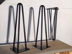 Pieds de table en épingle 40 cm à 3 branches Brut - Hairpin legs fait main - piétement de table : Meubles et rangements par ripaton