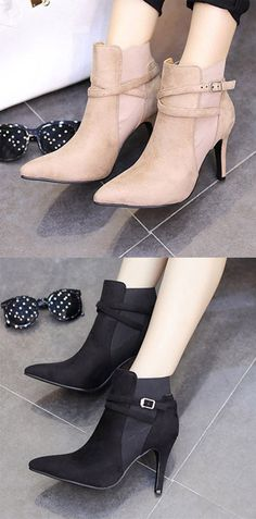 cac60057cb85 Shoespie Short Floss Pointed Toe Spool Heel Ankle Boot Women's Boots, Bootie  Boots, Ankle