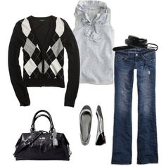 Argyle sweater, cute outfit