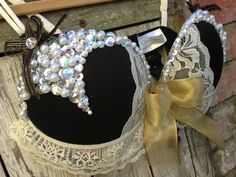 All That Glitters is Gold Pearl and Rhinestone Rave Bra - Size 34 C. $55.00, via Etsy.