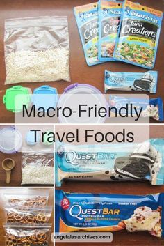Macrofriendly travel foods is part of Macro friendly recipes My favorite macrofriendly travel foods for quick breakfasts and snacks on the go that won& hinder progress towards fitness goals - Macro Friendly Recipes, Macro Recipes, Macro Meal Plan, Travel Snacks, Plane Snacks, Macro Nutrition, Counting Macros, Macros Diet, Champion