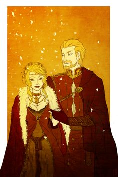 "A golden and scarlet wedding by Rakiah on @deviantART. Tywin and Joanna Lannister. ""Men say Tywin never smiled, but he smiled when he wed your mother, and when Aerys made him Hand. When Tarbeck Hall came crashing down on Lady Ellyn, that scheming bitch, Tyg claimed he smiled then, and he smiled at your birth, Jaime, I saw with my own eyes."""
