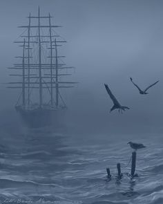 """scentdelanature: """"He couldn't see more than a few feet in front of him, the mist turning the ocean around him into a white nothingness. But the wind filling the sails carried the chirps and calls of..."""