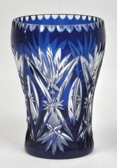 Val St Lambert - Rince raisins- Cristal clair doublé bleu - 1908