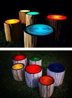 This exceptional and clever idea was curated from Red Lotus Gardening.  Construct outdoor stools from tree trunks and then paint them with glow paint - instant party lights in your garden or around your fire pit!