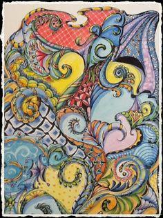 Zen art doodle watercolor - C DiTerlizzi 2013