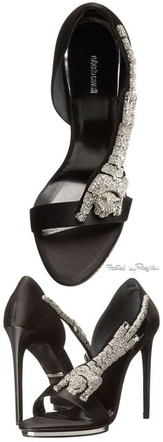 Roberto Cavalli ~ Jeweled Leather Sandal Pump, Black 2015 via Regilla